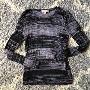 [Philosophy] Black/Gray Striped Long Sleeve Shirt